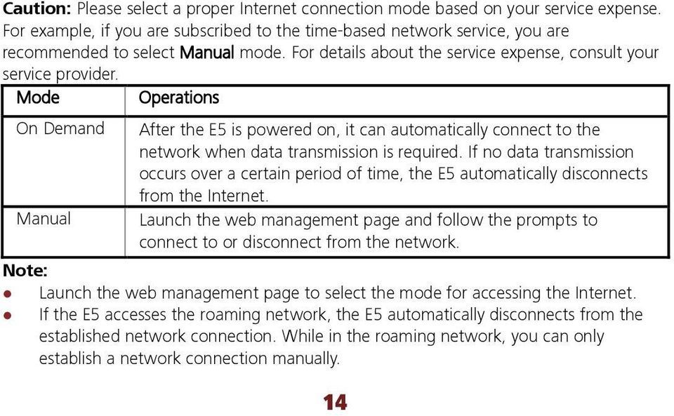 Mode Operations On Demand After the E5 is powered on, it can automatically connect to the network when data transmission is required.