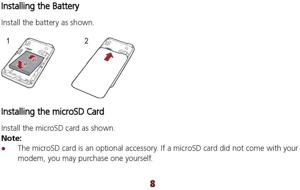 shown. Note: The microsd card is an optional accessory.