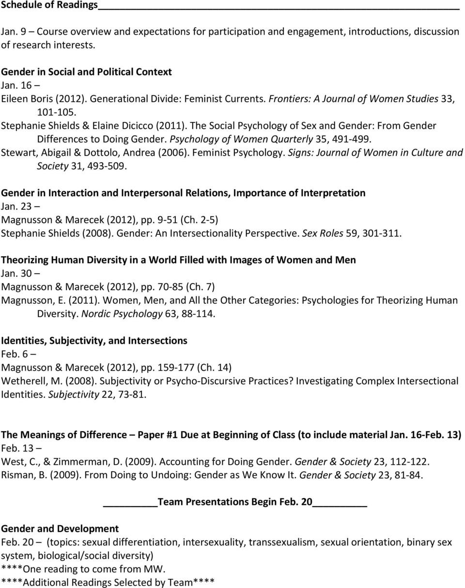 The Social Psychology of Sex and Gender: From Gender Differences to Doing Gender. Psychology of Women Quarterly 35, 491 499. Stewart, Abigail & Dottolo, Andrea (2006). Feminist Psychology.