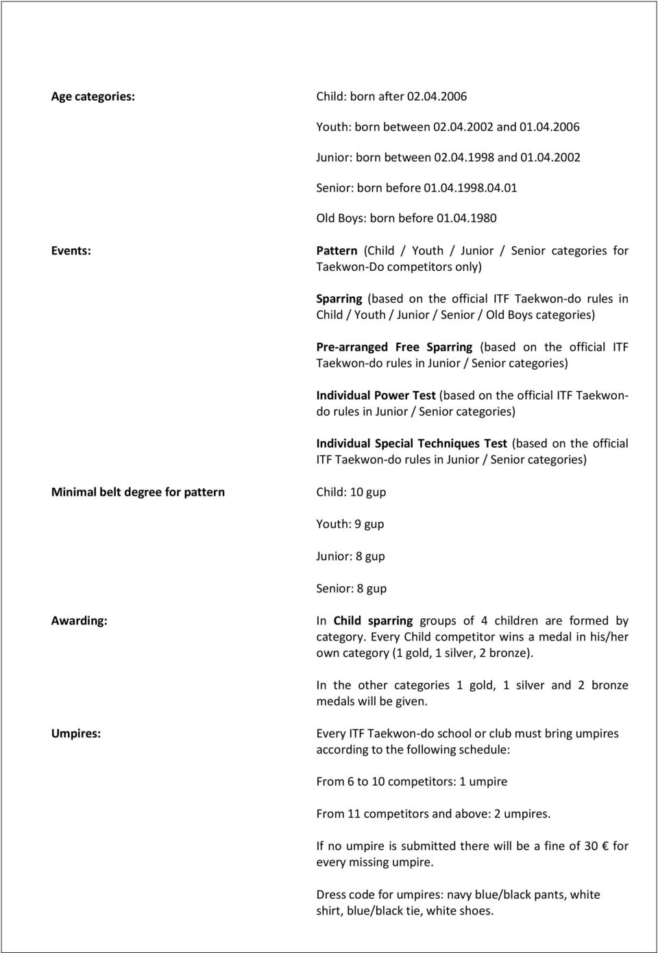 categories) Pre-arranged Free Sparring (based on the official ITF Taekwon-do rules in Junior / Senior categories) Individual Power Test (based on the official ITF Taekwondo rules in Junior / Senior