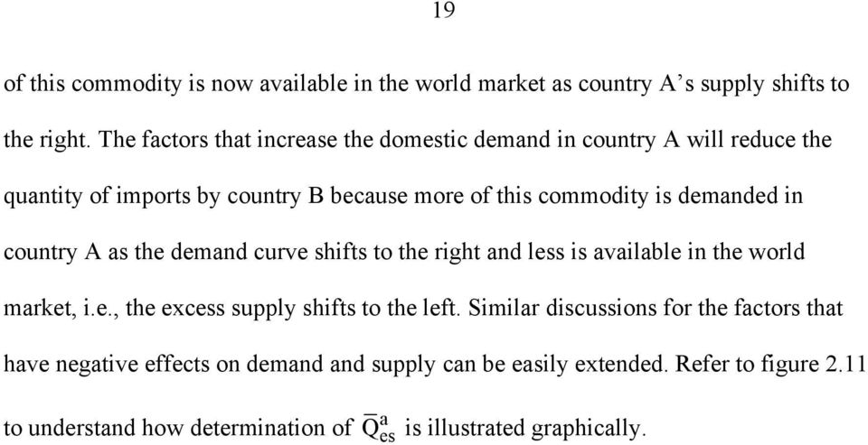 demnded in country A s the demnd curve shifts to the right nd less is vilble in the world mrket, i.e., the excess supply shifts to the left.