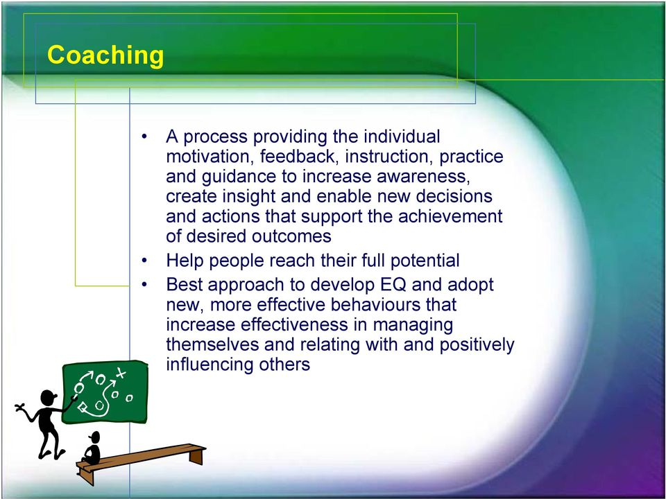 desired outcomes Help people reach their full potential Best approach to develop EQ and adopt new, more