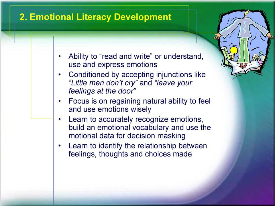 ability to feel and use emotions wisely Learn to accurately recognize emotions, build an emotional vocabulary and
