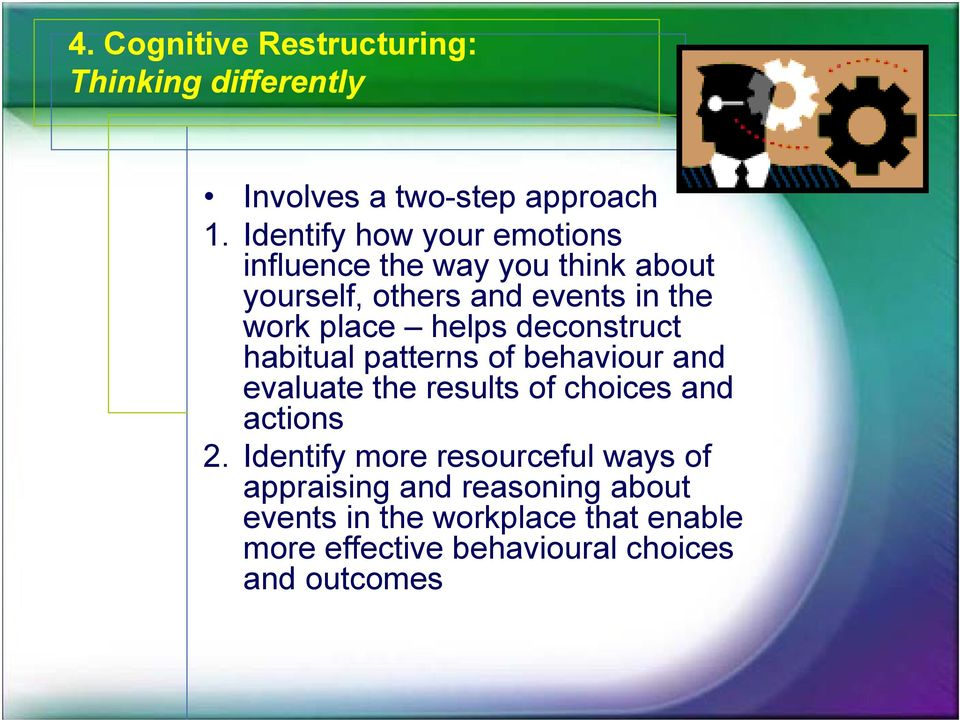 helps deconstruct habitual patterns of behaviour and evaluate the results of choices and actions 2.