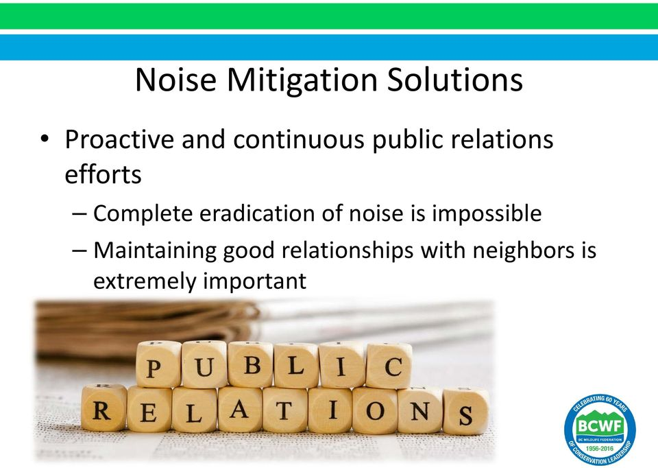 eradication of noise is impossible Maintaining
