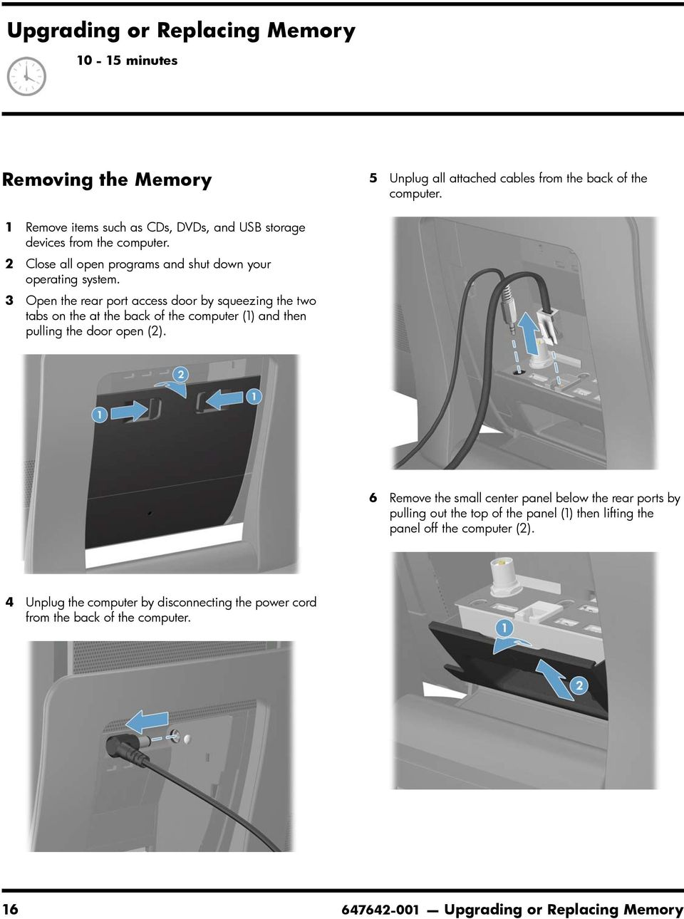 3 Open the rear port access door by squeezing the two tabs on the at the back of the computer (1) and then pulling the door open (2).