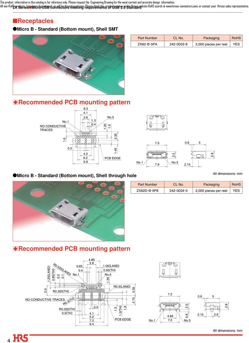 Receptacles Micro B - Standard (Bottom mount), Shell SMT ZX62-B-5PA 242-0033- 2,000 pieces per reel YES BRecommended PCB mounting pattern NO CONDUCTIVE TRACES.3 4.1 0.4 5 1.9 1.6 0.5 4.3 6.2 9. 1.45 3.