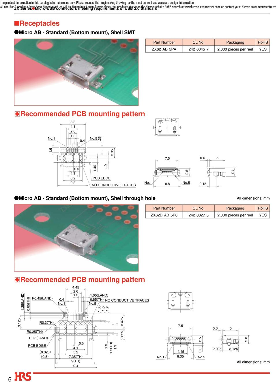 Receptacles Micro AB - Standard (Bottom mount), Shell SMT ZX62-AB-5PA 242-0045-7 2,000 pieces per reel YES BRecommended PCB mounting pattern.3 4.1 0.4 5 1.6 3.35 7.5 0.6 5 0.5 4.3 6.2 9. 1.45 1.