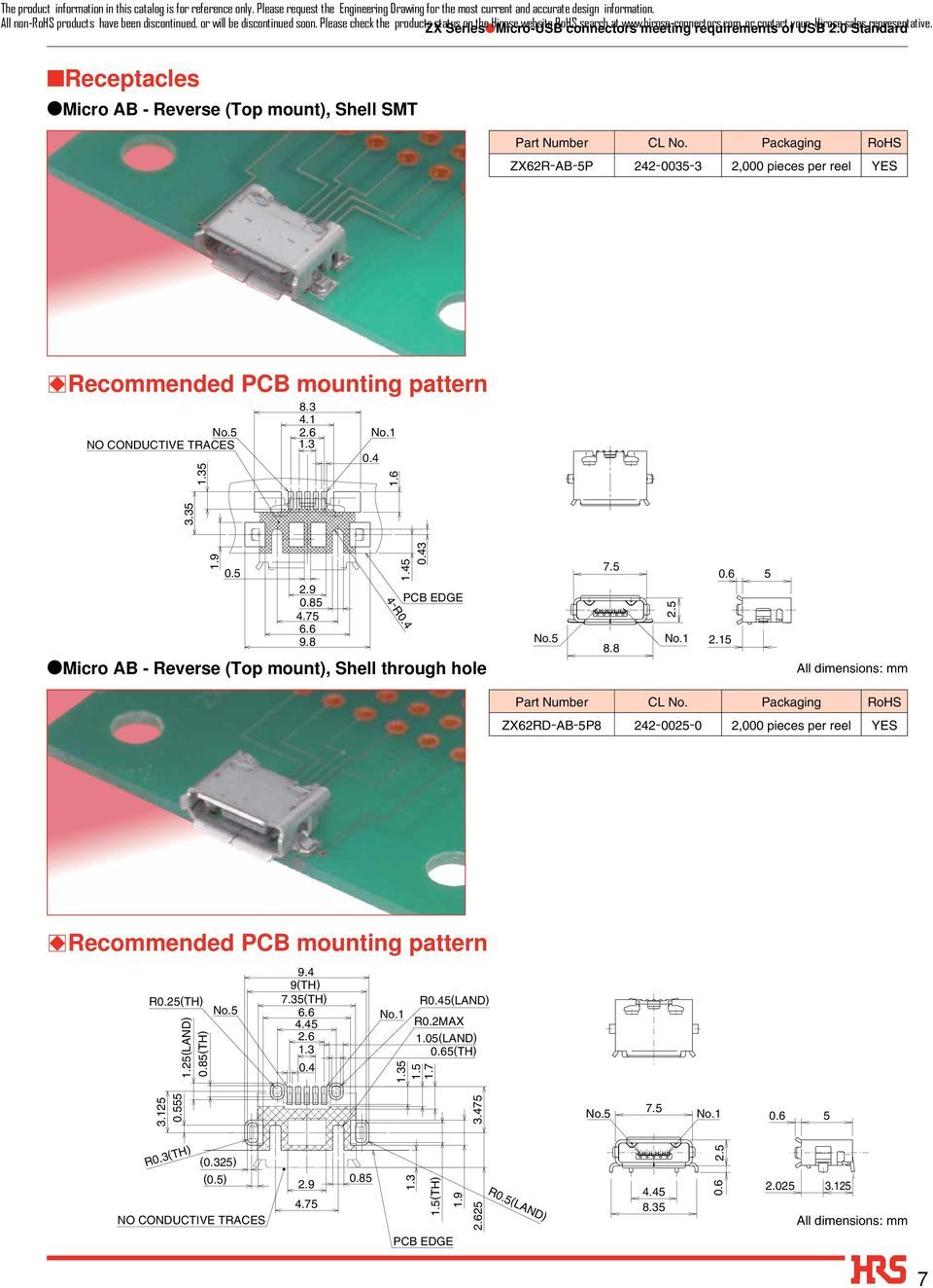 Receptacles Micro AB - Reverse (Top mount), Shell SMT ZX62R-AB-5P 242-0035-3 2,000 pieces per reel YES BRecommended PCB mounting pattern NO CONDUCTIVE TRACES 5.3 4.1 0.4 1.6 1.9 3.35 0.5 2.9 0.5 4.