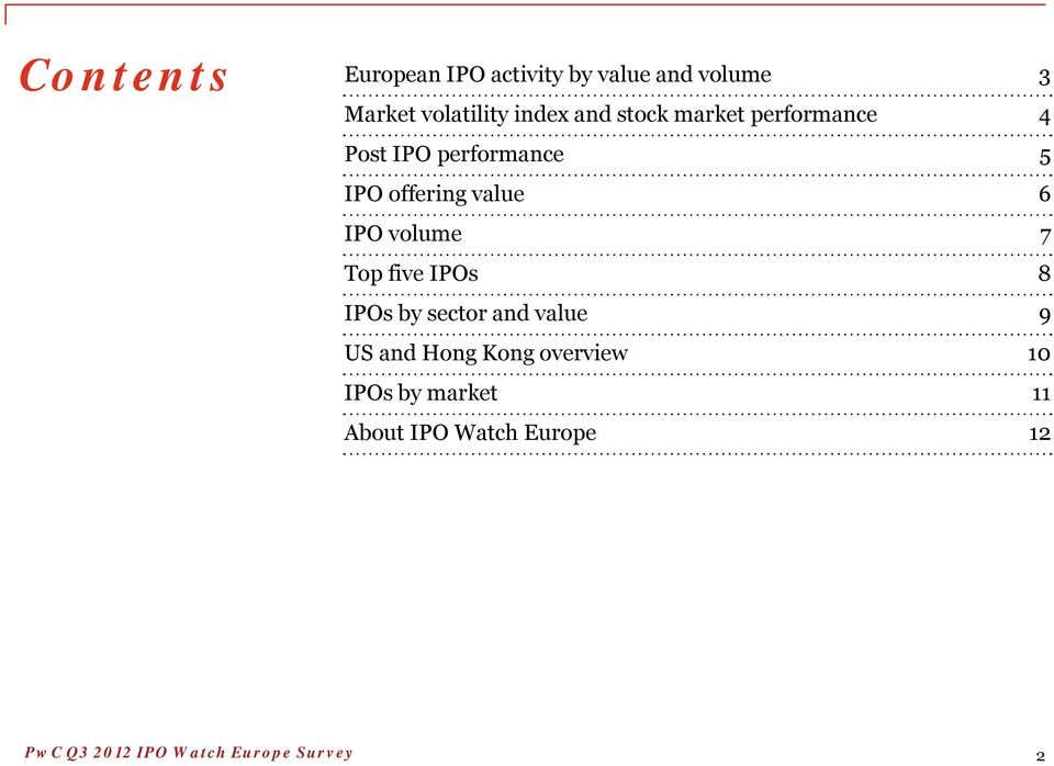 offering value 6 IPO volume 7 Top five IPOs 8 IPOs by sector and value