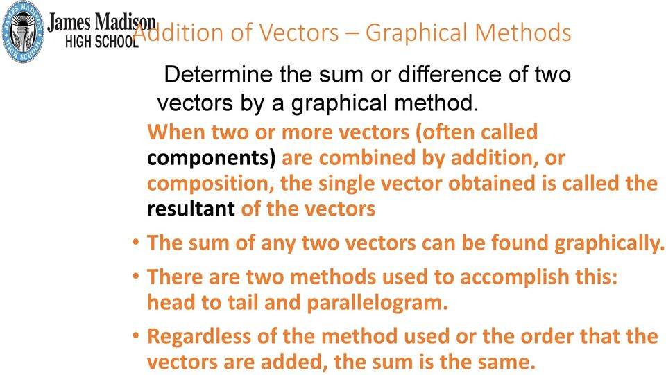 called the resultant of the vectors The sum of any two vectors can be found graphically.