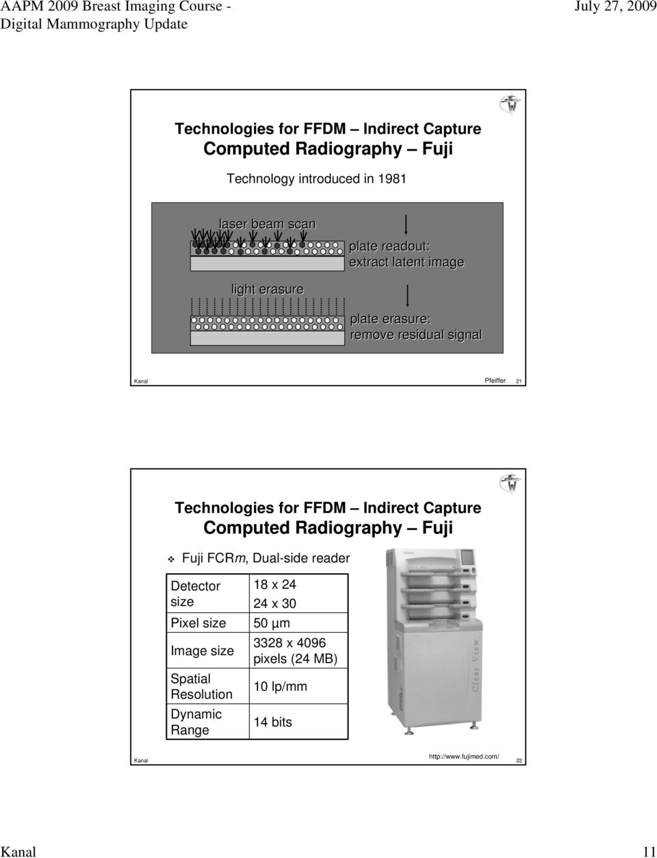 Indirect Capture Computed Radiography Fuji Fuji FCRm, Dual-side reader Detector size Pixel size Image size Spatial