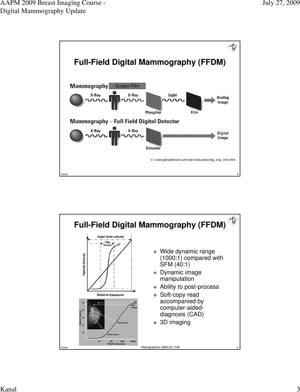 html Kanal 5 Full-Field Field Digital Mammography (FFDM) Wide dynamic range (1000:1) compared with