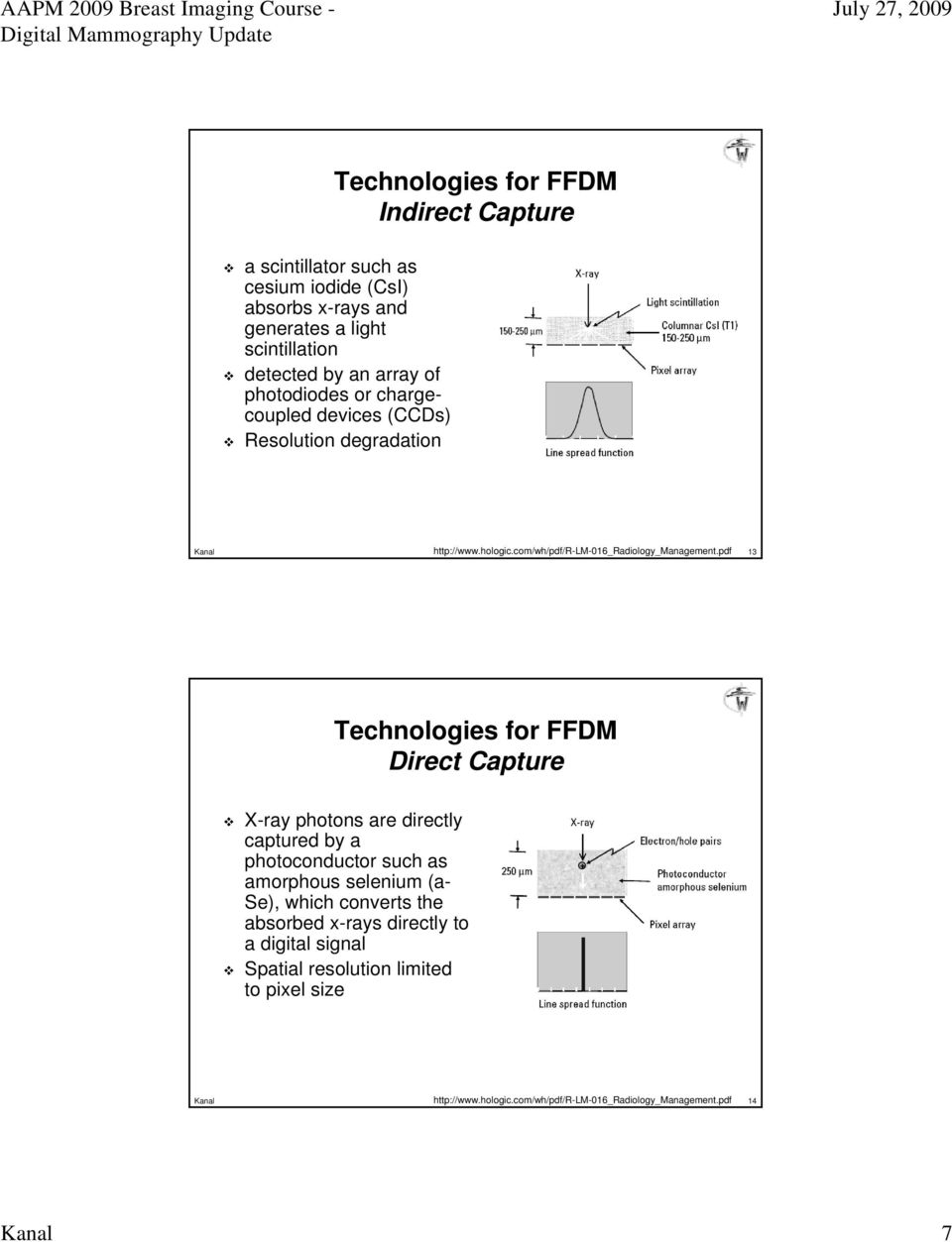 pdf 13 Technologies for FFDM Direct Capture X-ray photons are directly captured by a photoconductor such as amorphous selenium (a- Se), which converts the