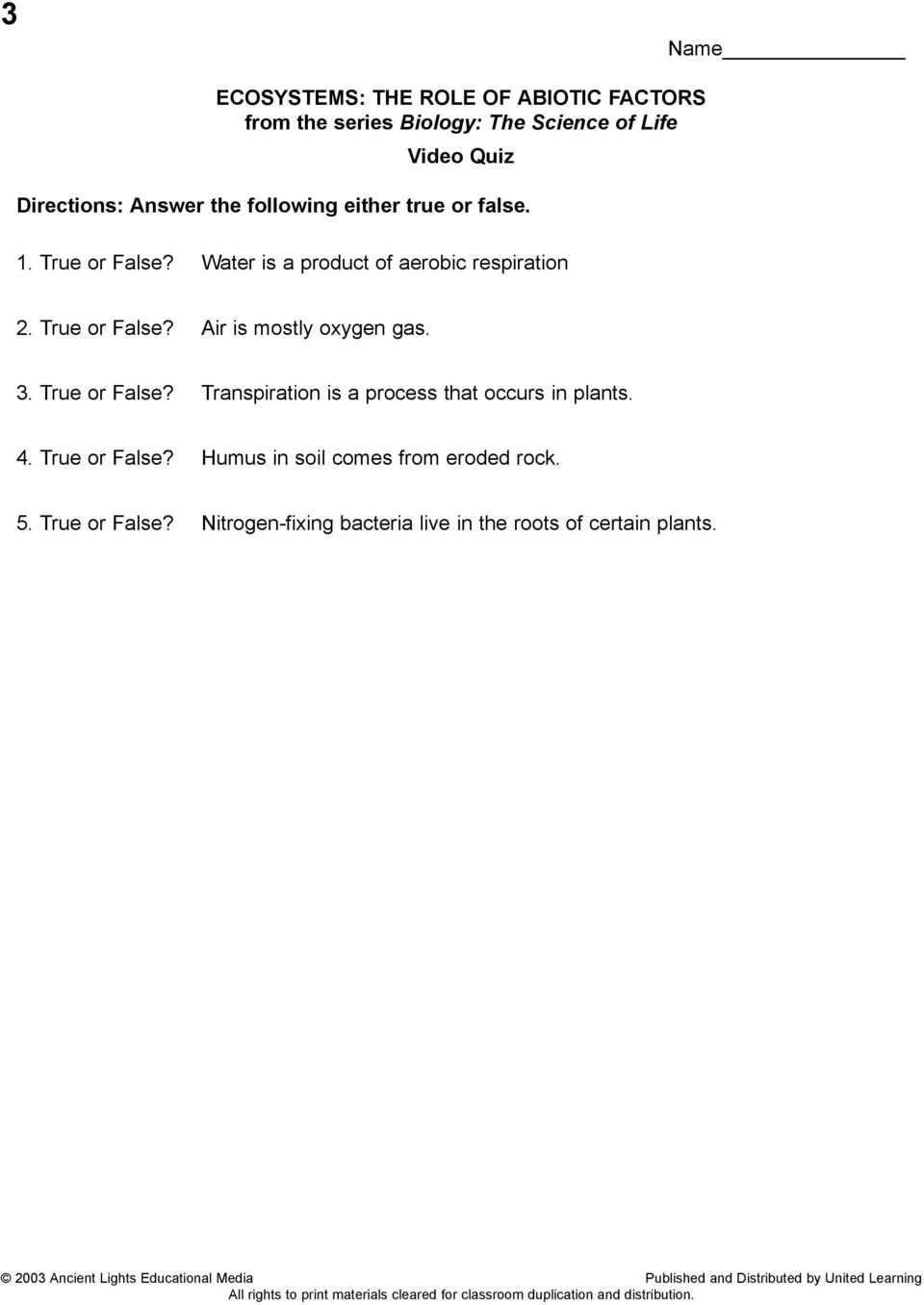 worksheet Section 4 2 What Shapes An Ecosystem Worksheet Answers ecosystems the role of abiotic factors from series biology 4 true or false humus in soil comes eroded rock 5