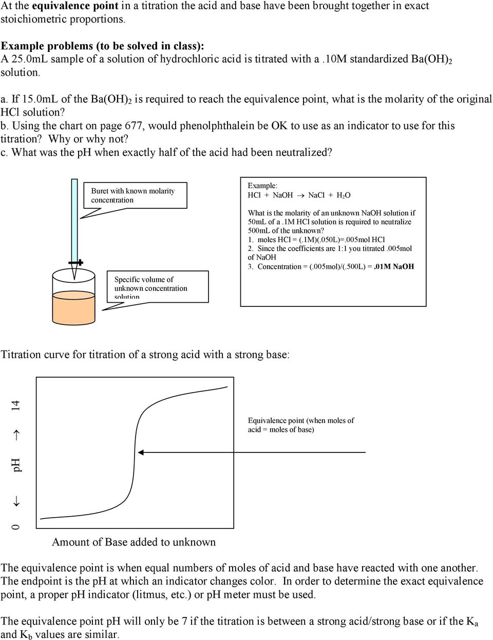 0mL of the Ba(OH) 2 is required to reach the equivalence point, what is the molarity of the original HCl solution? b.