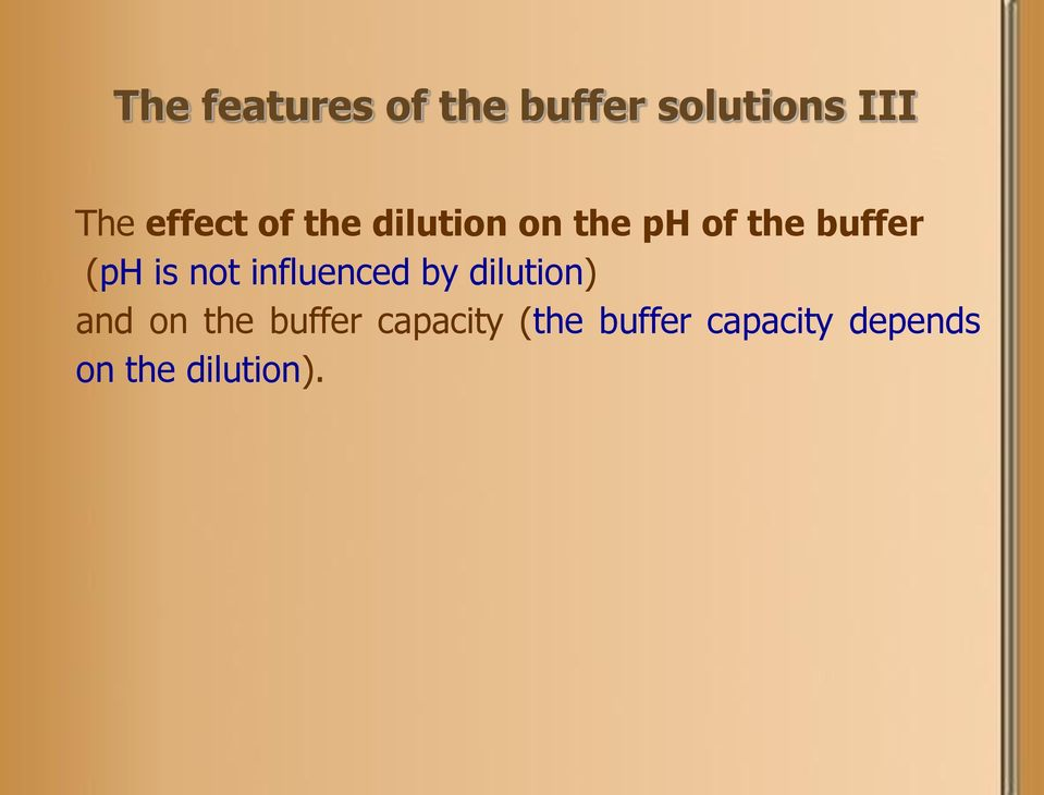 (ph is not influenced by dilution) and on the