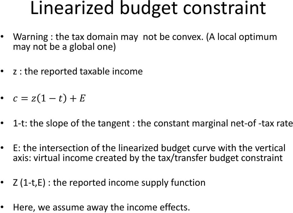 the constant marginal net of tax rate E: the intersection of the linearized budget curve with the vertical