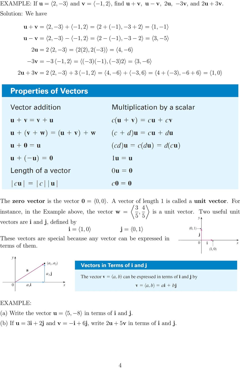 4+( ), 6+6 = 1,0 The zero vector is the vector 0 = 0,0. A vector of length 1 is called a unit vector.