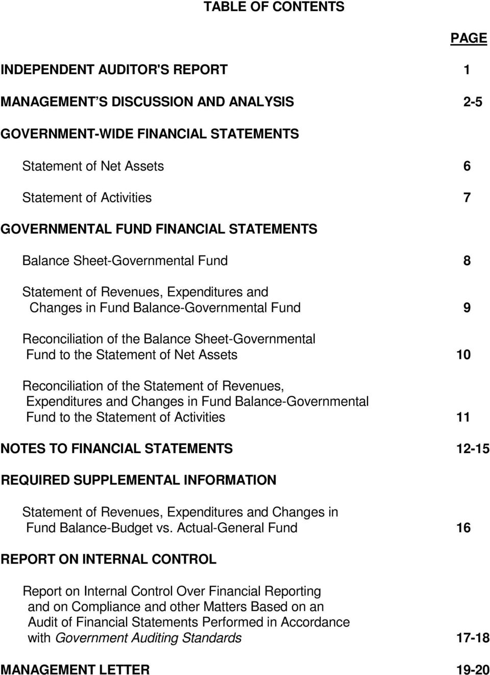 to the Statement of Net Assets 10 Reconciliation of the Statement of Revenues, Expenditures and Changes in Fund Balance-Governmental Fund to the Statement of Activities 11 NOTES TO FINANCIAL