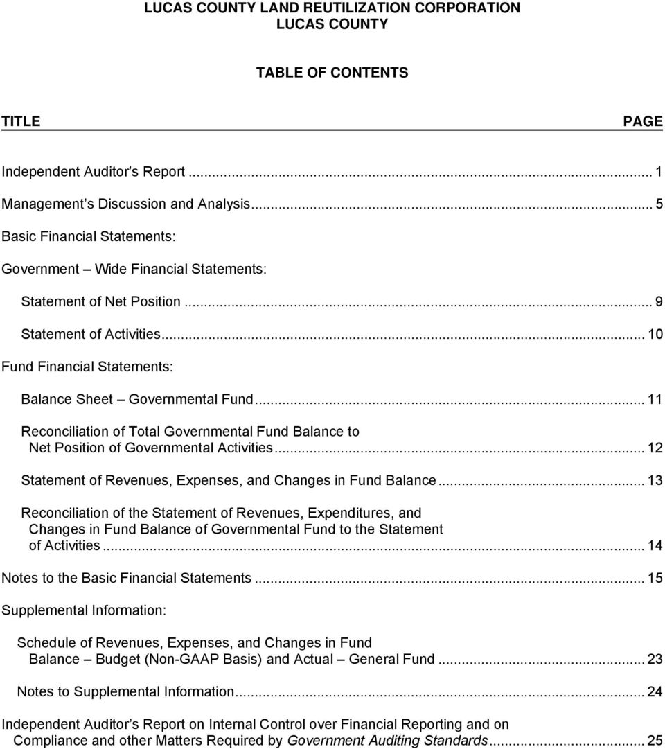 .. 12 Statement of Revenues, Expenses, and Changes in Fund Balance.