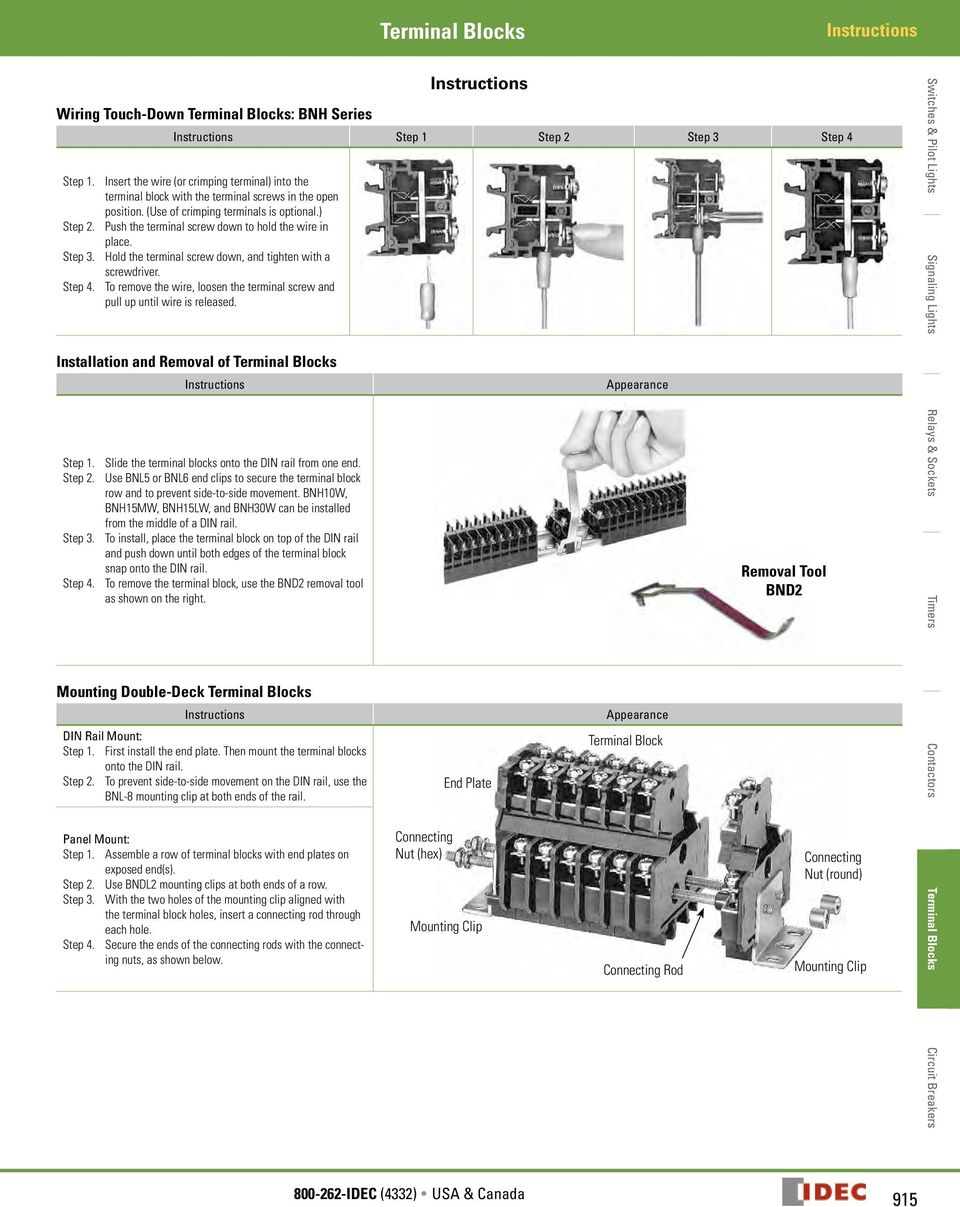 Terminal Blocks Ba Series Specifications Model Ba111t Ba211t Idec Relay Wiring Push The Screw Down To Hold Wire In Place Step 3