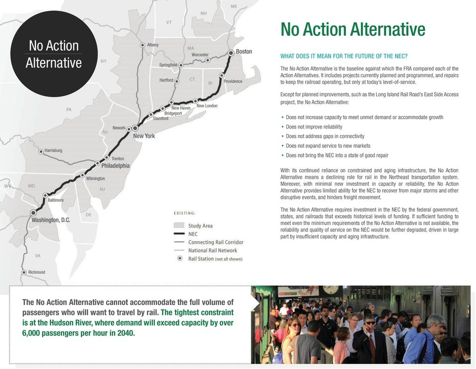 Except for planned improvements, such as the Long Island Rail Road s East Side Access project, the No Action Alternative: Does not increase capacity to meet unmet demand or accommodate growth Does