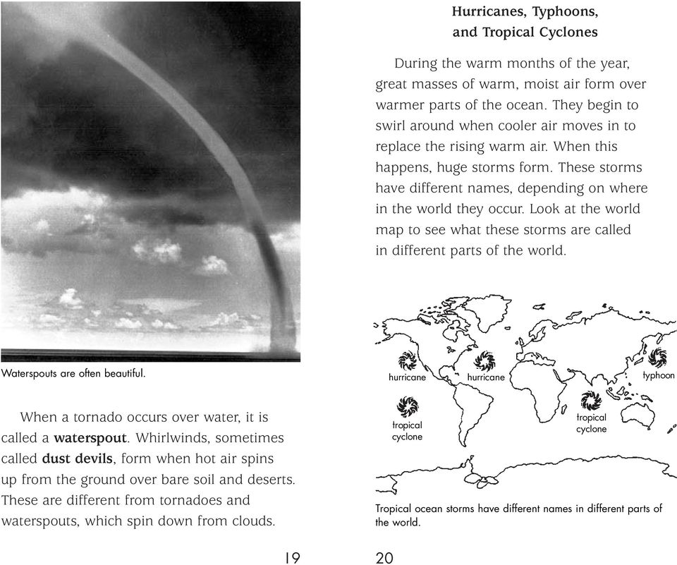Look at the world map to see what these storms are called in different parts of the world. Waterspouts are often beautiful.