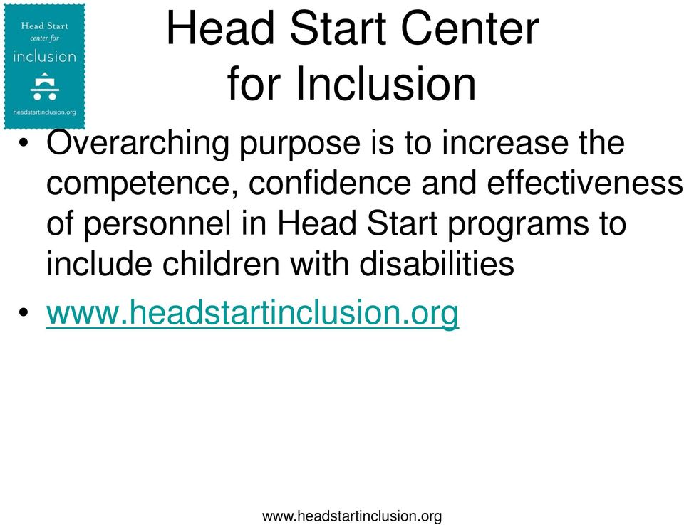 personnel in Head Start programs to include children with
