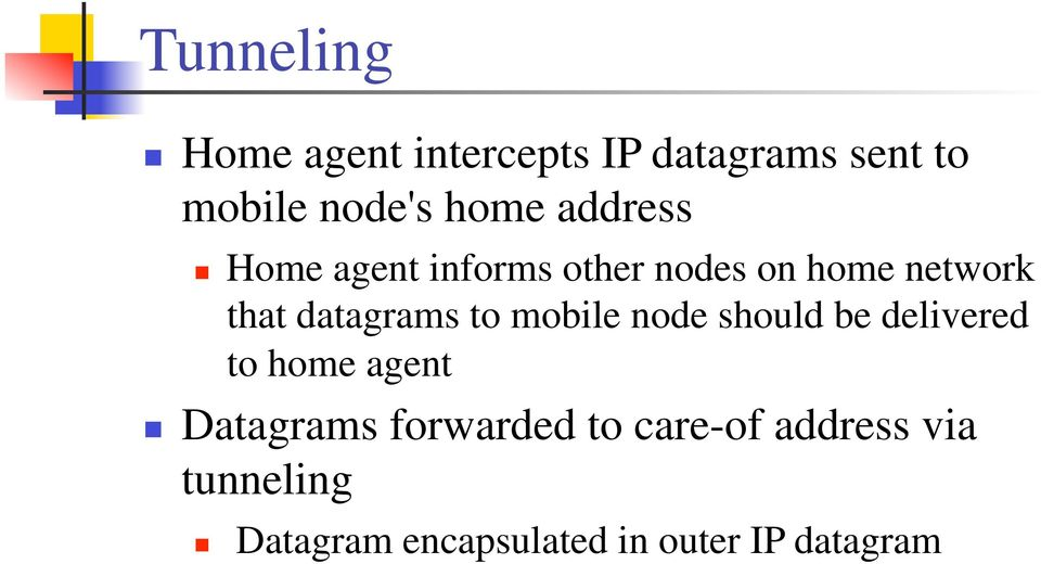 to mobile node should be delivered to home agent Datagrams forwarded to