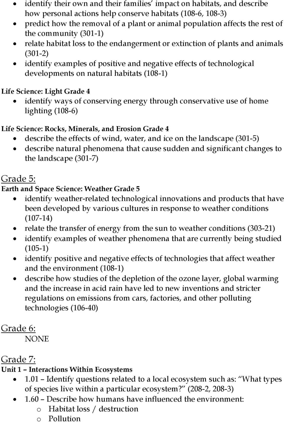 natural habitats (108-1) Life Science: Light Grade 4 identify ways of conserving energy through conservative use of home lighting (108-6) Life Science: Rocks, Minerals, and Erosion Grade 4 describe