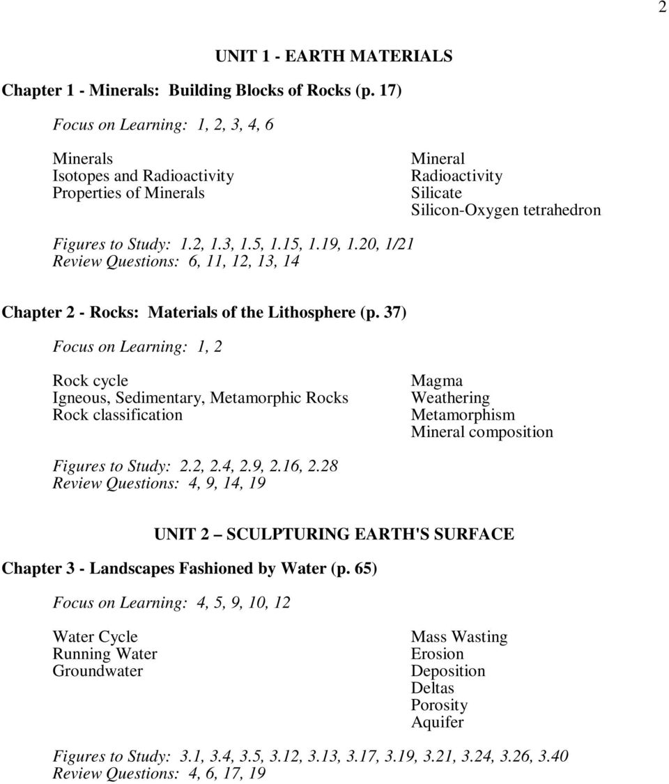 19, 1.20, 1/21 Review Questions: 6, 11, 12, 13, 14 Chapter 2 - Rocks: Materials of the Lithosphere (p.