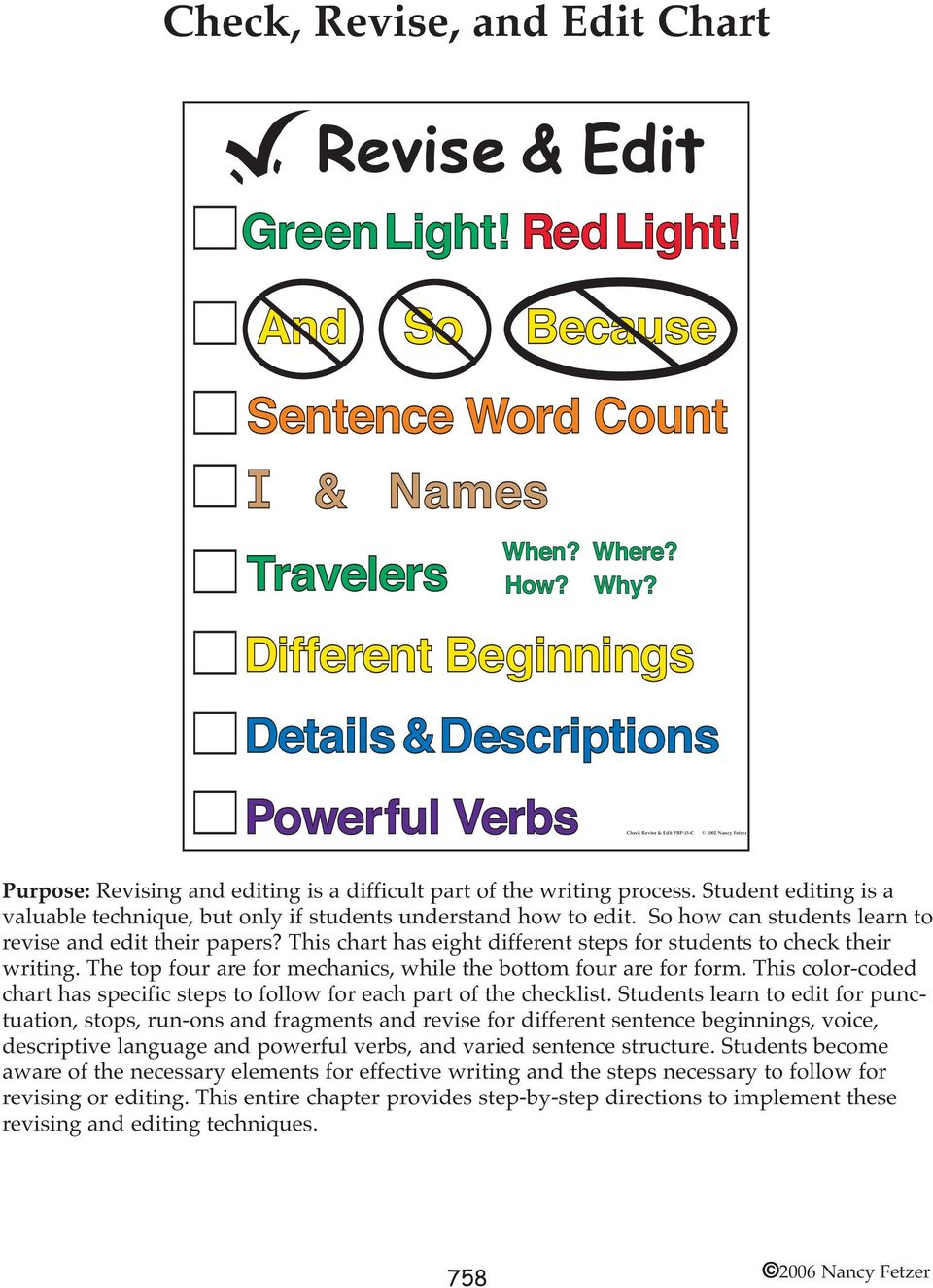 This chart has eight different steps for students to check their writing. The top four are for mechanics, while the bottom four are for form.