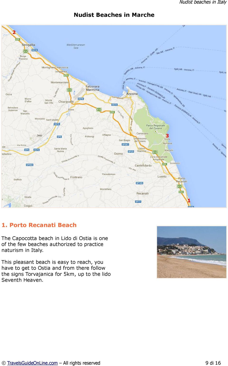 beaches authorized to practice naturism in Italy.