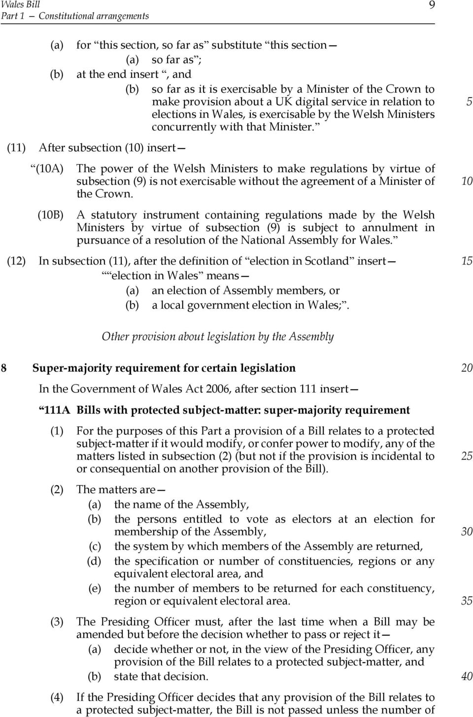 (11) After subsection () insert (A) (B) The power of the Welsh Ministers to make regulations by virtue of subsection (9) is not exercisable without the agreement of a Minister of the Crown.