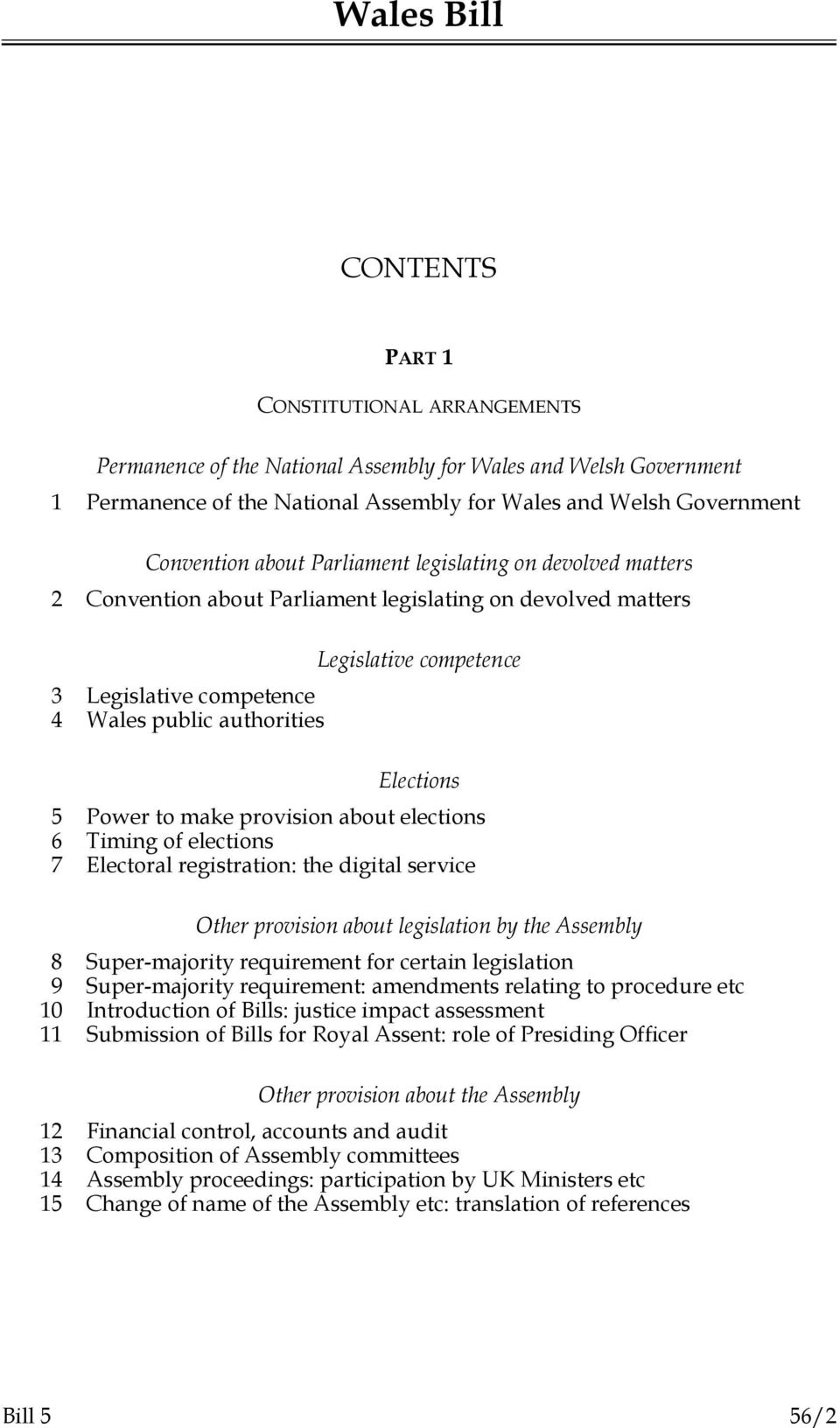 make provision about elections 6 Timing of elections 7 Electoral registration: the digital service Other provision about legislation by the Assembly 8 Super-majority requirement for certain