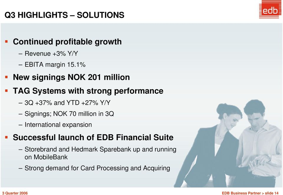 NOK 70 million in 3Q International expansion Successful launch of EDB Financial Suite Storebrand and