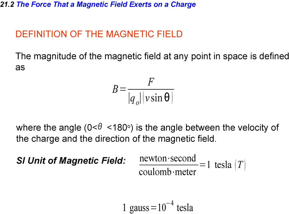 angle (0< <180 o ) is the angle between the velocity of the charge and the direction of the