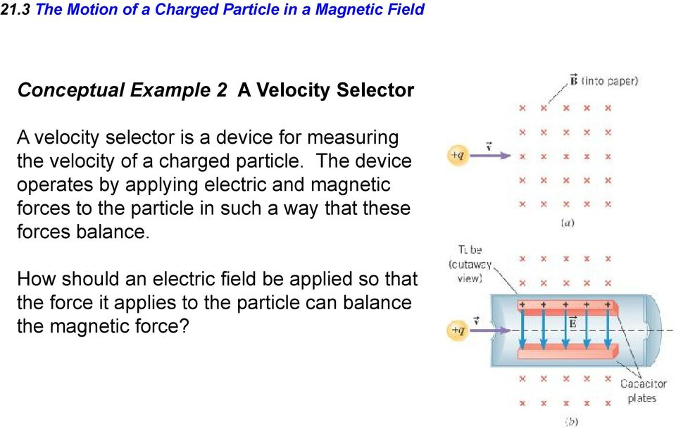 The device operates by applying electric and magnetic forces to the particle in such a way that these