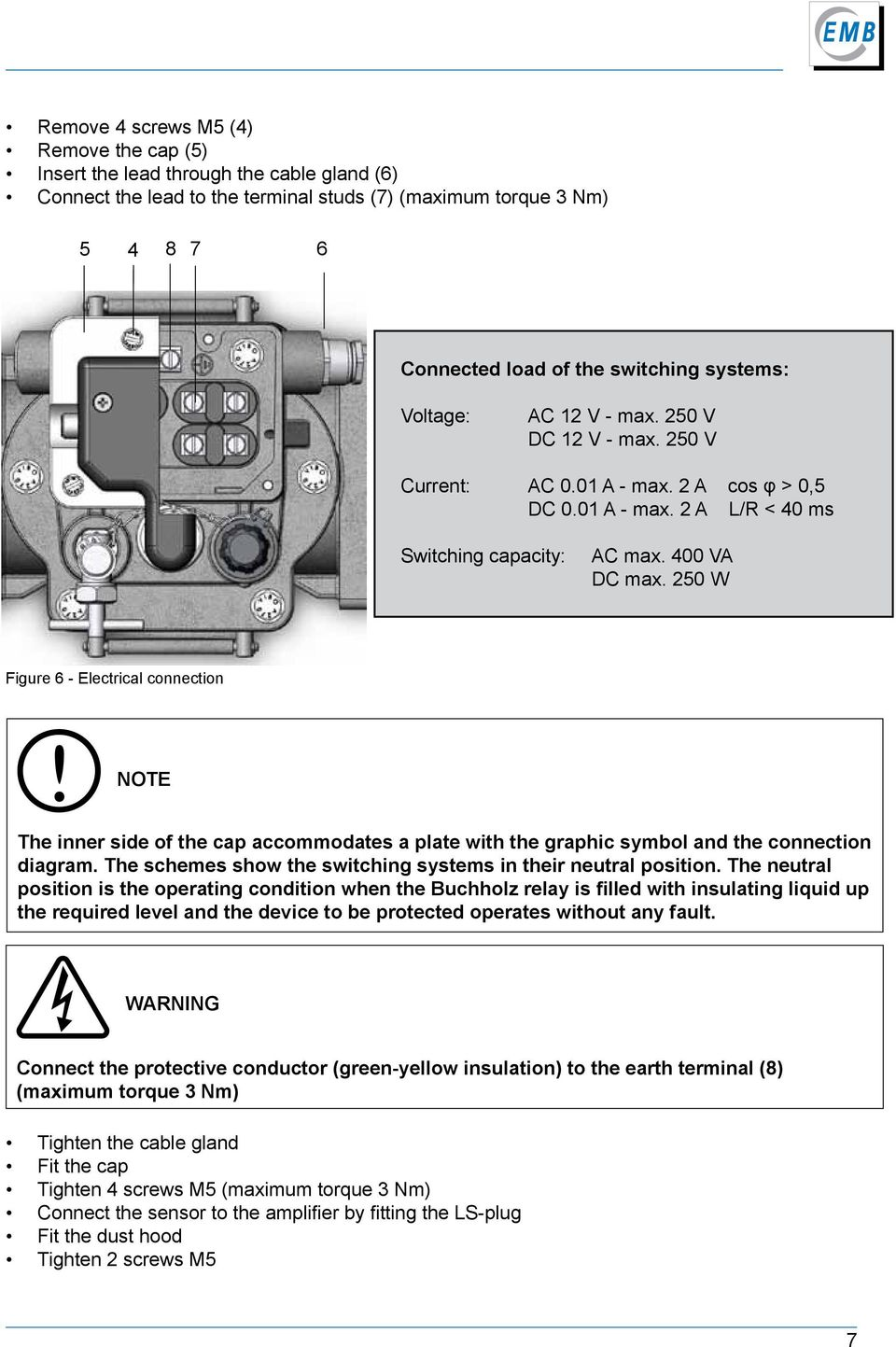 250 W Figure 6 - Electrical connection note The inner side of the cap accommodates a plate with the graphic symbol and the connection diagram.