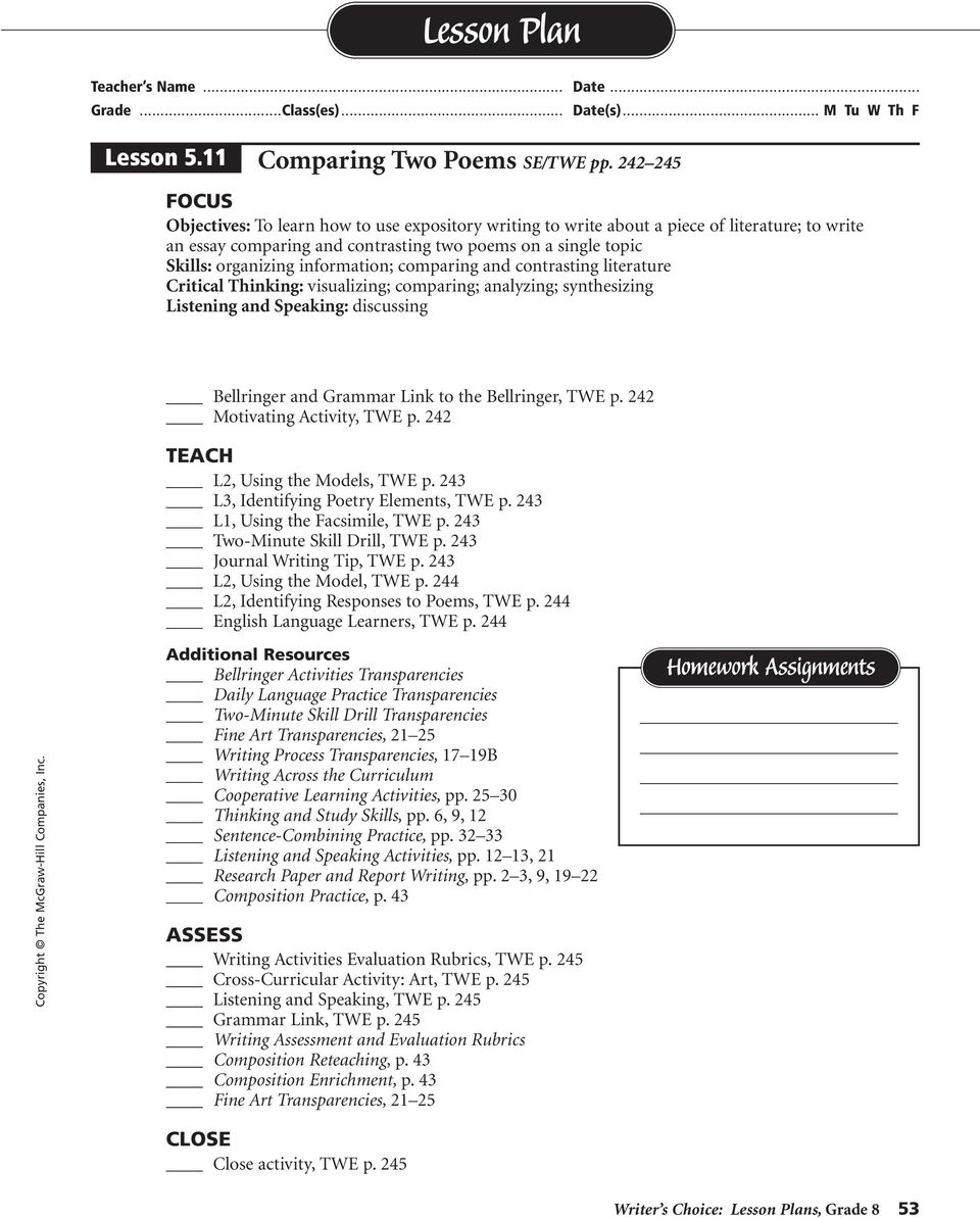 information; comparing and contrasting literature Critical Thinking: visualizing; comparing; analyzing; synthesizing Listening and Speaking: discussing Bellringer and Grammar Link to the Bellringer,