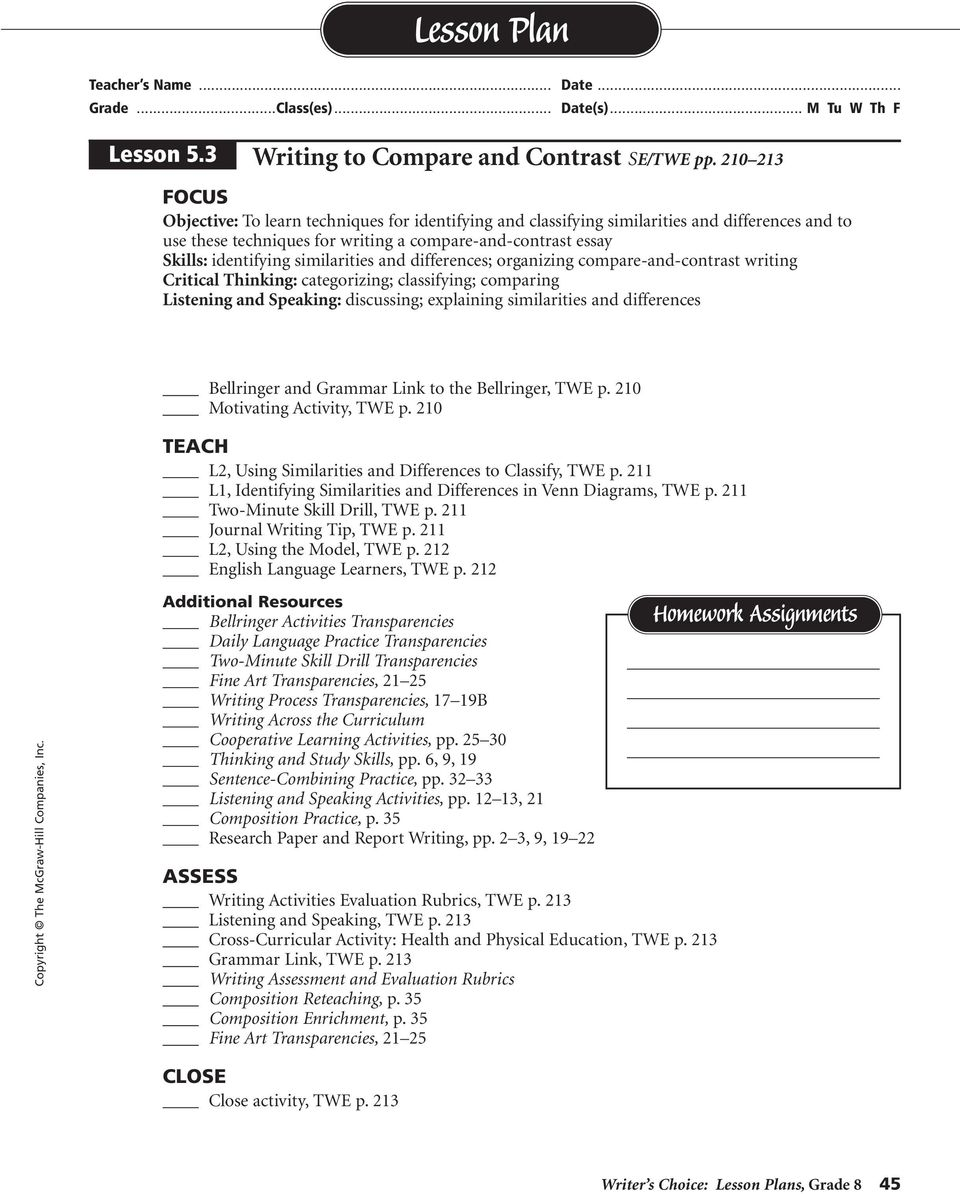 similarities and differences; organizing compare-and-contrast writing Critical Thinking: categorizing; classifying; comparing Listening and Speaking: discussing; explaining similarities and