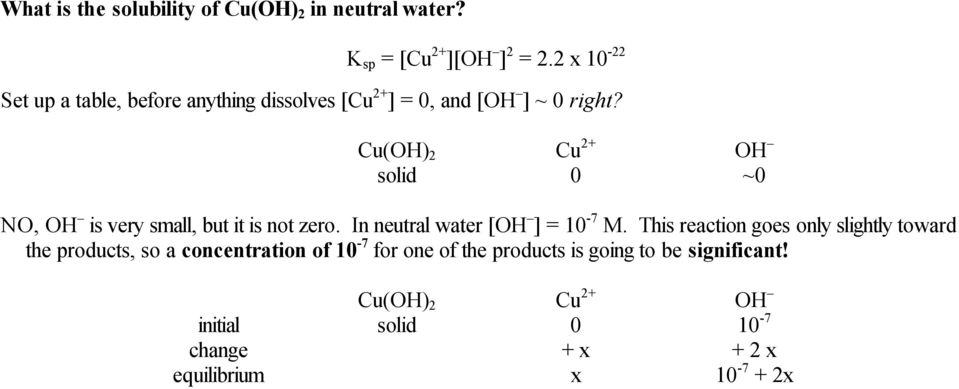 Cu(OH) 2 Cu 2+ OH solid 0 ~0 NO, OH is very small, but it is not zero. In neutral water [OH ] = 10-7 M.