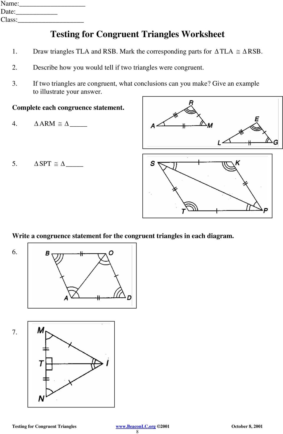 write a congruence statement for the pair of triangles that are similar