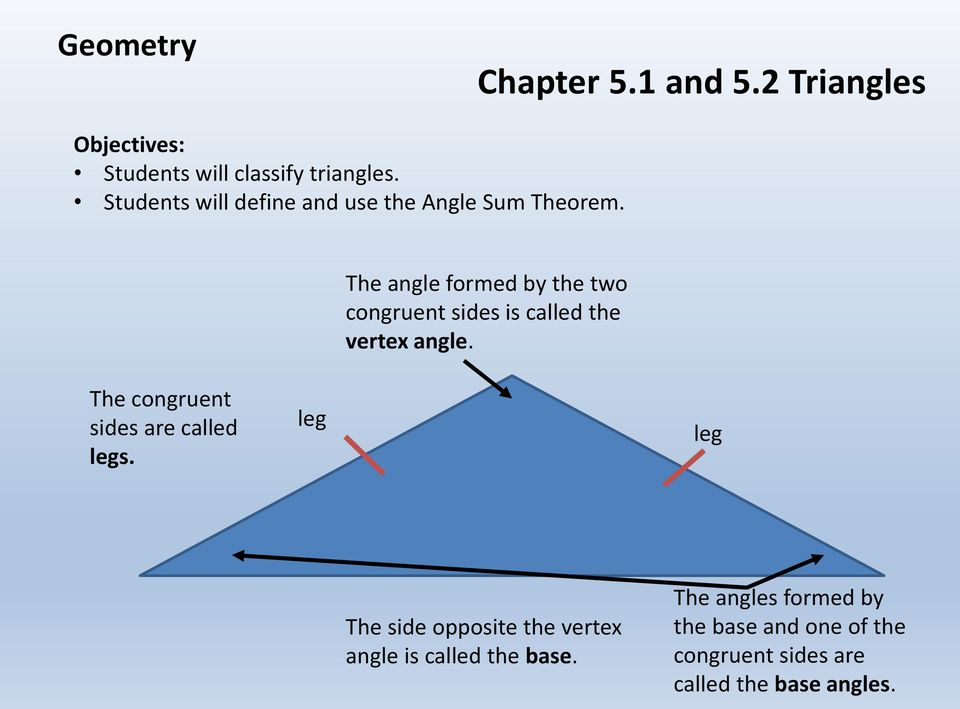 The angle formed by the two congruent sides is called the vertex angle.