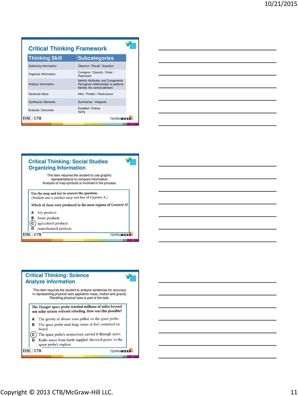 Establish Criteria Verify 31 Critical Thinking: Social Studies Organizing Information This item requires the student to use graphic representations to compare information.