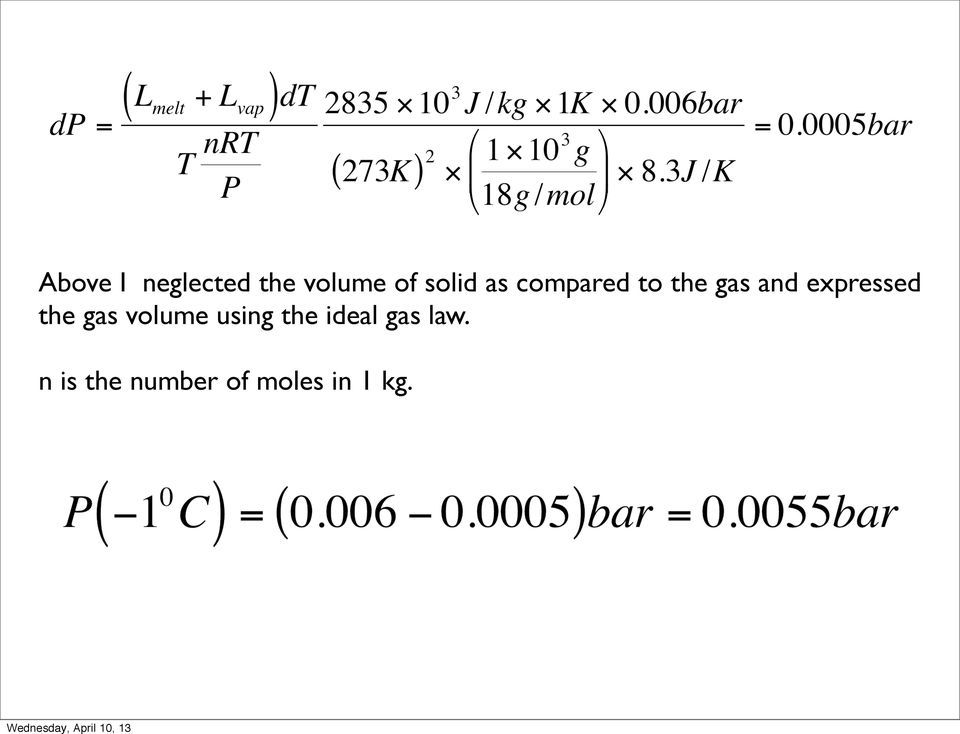 expressed the gas volume using the