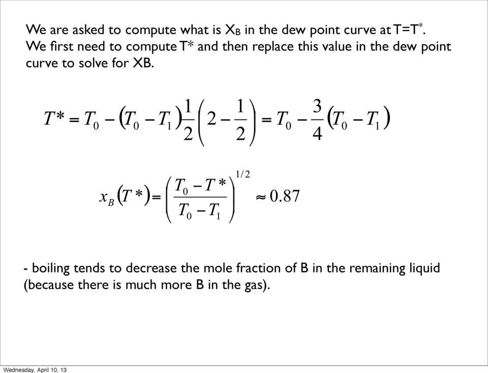 point curve to solve for XB.