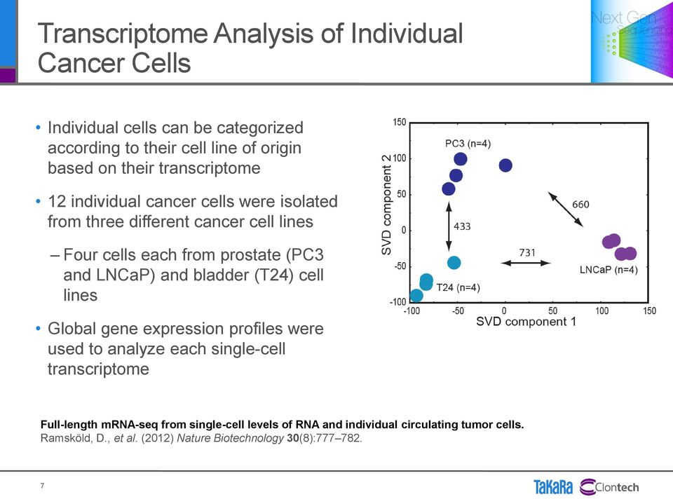 and LNCaP) and bladder (T24) cell lines Global gene expression profiles were used to analyze each single-cell transcriptome Full-length