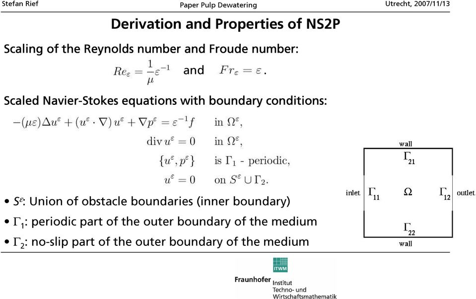 Scaled Navier-Stokes equations with boundary conditions: S ε : Union of